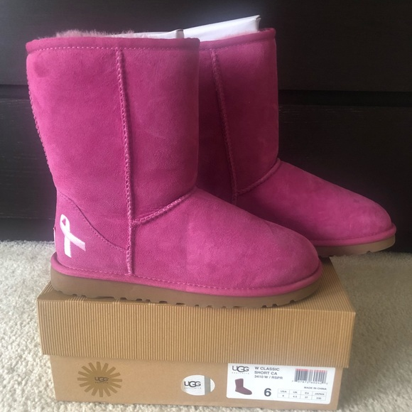 Details about Ugg Bailey Button Raspberry Pink Breast Cancer Awareness Women Boots US Size 7